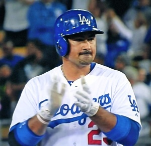 First baseman Adrian Gonzalez went 4-for-4 in the game against the Angels.