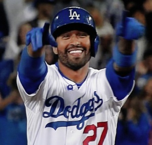 Center-fielder Matt Kemp after hitting an RBI double in the sixth inning, his second hit of the game and the season.