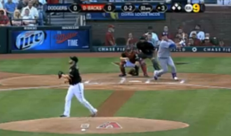 Dodger pitcher Hyun-Jin Ryu gets one of three hits against D-backs pitcher Ian Kennedy on Saturday.