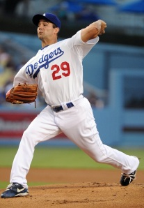 Dodgers pitcher Ted Lilly gave up two home runs in the first inning.