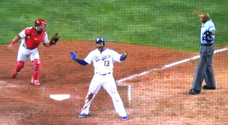 Shortstop Hanley Ramirez roars his mightiest after scoring the walk-off winning run.