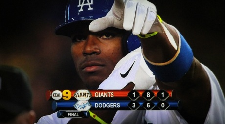 The right-fielding phenom Yasiel Puig after his game-winning RBI single in the eighth.