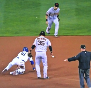 Andre Ethier achieves the first stolen base of his career.