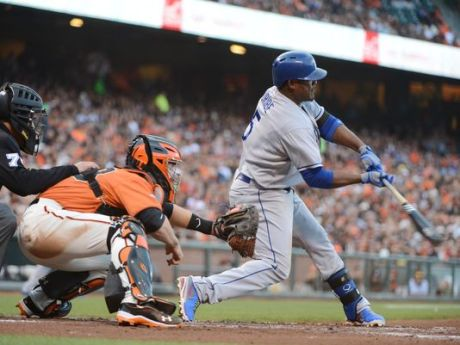 Juan Uribe was on fire against his former teammates, knocking in seven runs in the Dodgers' 10-2 rout of the Giants.