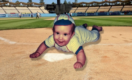 Baby Zach sliding home. This has nothing to do with anything, I just thought it was cute.