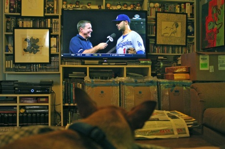 My dog, Zorro, loves to sit on my lap and watch the Dodgers win.