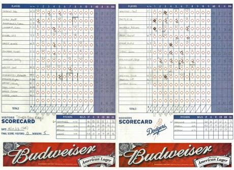 Dodger Scorecard for PW