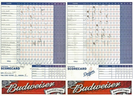 Dodger Scorecard for PW