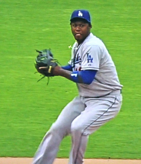 Dodger shortstop Hanley Ramirez commits the first of two errors in the bottom of the 9th.