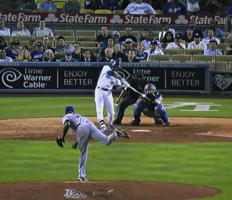"""Andre Ethier pinches in a two-run homer in the ninth to tie the game. Adrian Gonzalez would go on to single in Yasiel """"Don't Make Me Stop at First"""" Puig in the 12th."""