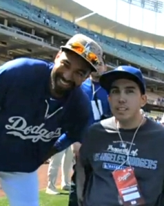 Matt Kemp with Joshua Jones at Dodger Stadium.