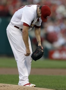St. Louis pitcher Shelby Miller is obviously in pain after being hit in the elbow by a comebacker.