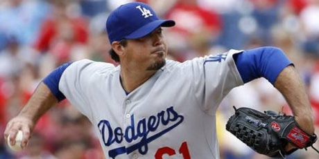 Dodger pitcher Josh Beckett threw his first career no-hitter in Philadelphia.