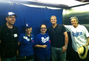 Tim Federowicz, leaving for AAAlbuquerque, stopped for a photo in the stadium elevator.